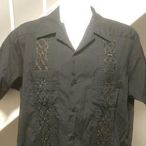 Black Guayabera XL Shirt